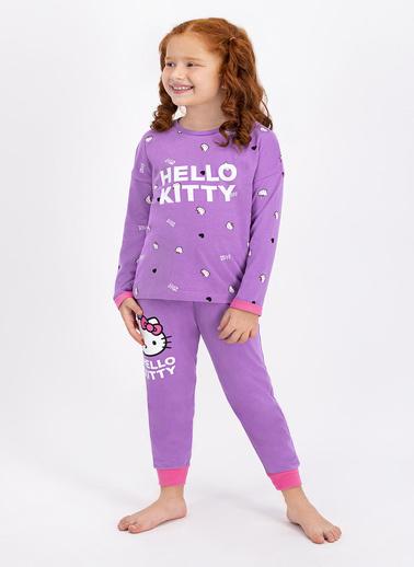 Hello Kitty Hello Kitty Lisanslı Lila Kız Çocuk Pijama Takımı Lila
